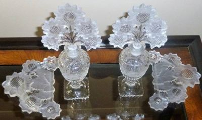 Vintage Sun Flower Perfume bottle set. & Tray handles