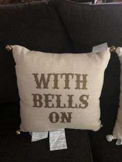 "2 New Pottery Barn Pillows ""With Bells On"""