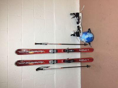 Junior skis/poles/helmet.  Size 3 hockey skates