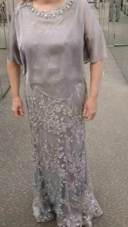STUNNING David's Bridal Mother Of The Bride Metallic Floral Dress With Cape, Size 16 Made By Ignite. Worn Only Recently For One Day...