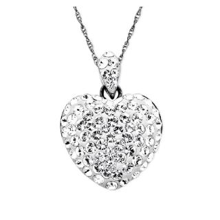 Crystal Heart Pendant Necklace in Sterling Silver