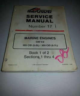 Buy MerCruiser Service Manual Number 17 Marine Engines GM V-8 305CID / 350 CID motorcycle in Cleveland, Ohio, United States, for US $13.00