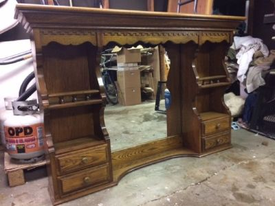 Solid oak mirror dresser top