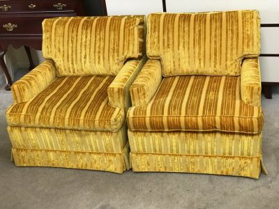 2 Yellow Retro Upholstered Arm Side Chairs by State of Newburgh.