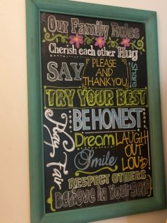 Family Rules chalkboard sign