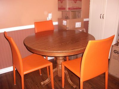 SOLID OAK TABLE CHAIRS LEAF