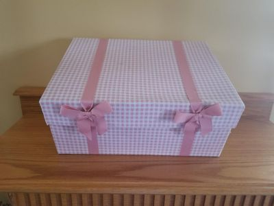 Pink storage box from Linen and Things store