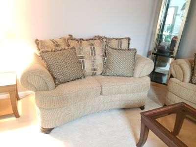 Sofa, Loveseat, Coffee Table, End Tables and Lamps