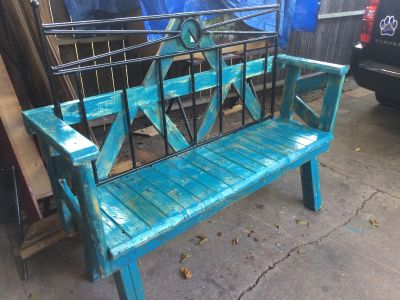 Rustic turquoise rod Iron back 18 deep 66 long 21 high back rest 31 high asking $325.00