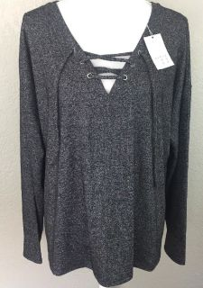Women's New With Tags A New Day Brand Plus Size 1X Gray Long Sleeve Lace Up Blouse $20 Firm