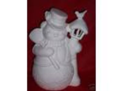 Ceramic Bisque Ready to Paint Tall Snowman Lamp Post clip in