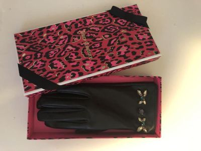 Juicy Couture Leather Embellished Gloves