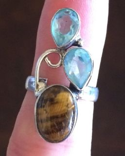 New - Tiger Eye and Light Blue Apatite Sterling Silver Ring - Size 6