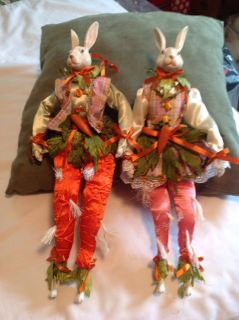 Unusual Decorative Rabbits. Porcelain. Head hand and feet. 16 inches tall