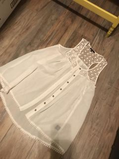 Adorable white sheer and lace button up tank