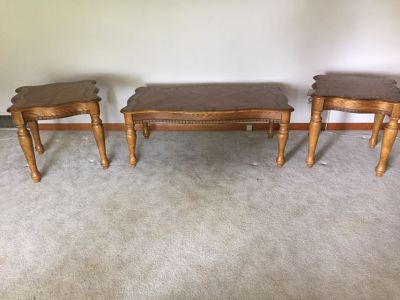 2 end tables 2 ft x 2ft, and coffee table 49 long x 26 wide. Solid wood. Great condition