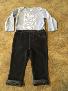 6-9 Month Soft Jeans & 6-12 Month Long Sleeve Onesie