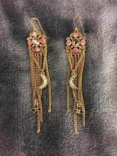 Pink Rhinestone, & gold chain earrings w/ crescent moon accent