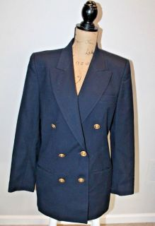 Vintage Talbots Navy Double Breasted Wool Blazer, Gold Buttons, Lined, Size 10