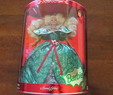 #1 Barbie Doll Mattel Happy Holidays 1995 Special Edition Mint Sealed #14123