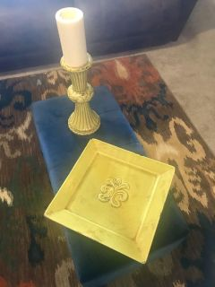 Lime green large decorative platter with matching candle holder