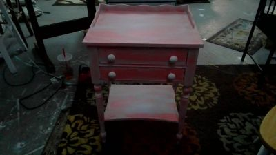 end table / side table caribean salsa and white distressed 2 drawers