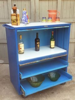 Vintage industrial rolling bar/tool cabinet