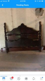 Full size Antique Headboard, footboard. Would look great painted. $175 Pickup in Paxton Place
