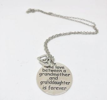 New Stamped Love Between a Grandmother and Granddaughter Necklace