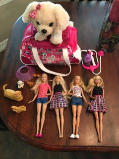 Barbies and Barbie pets with Dr. Bag