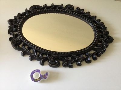 Gorgeous Large Vintage 60s Resin Ornate Rustic Matte Black with Gold Accent Hanging Mirror