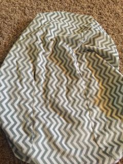 Grey chevron changing table pad cover