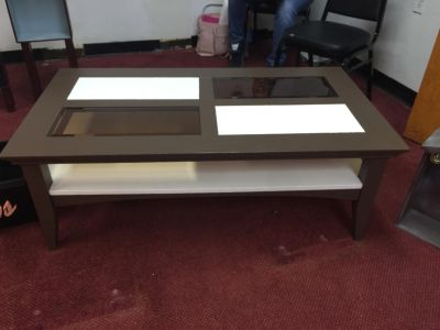 Authentic Brown and Marshmallow White bi-level coffee table.
