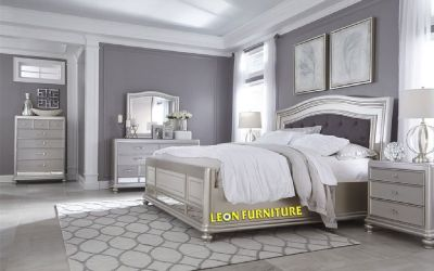 Get Coralayne Silver B650 4 PC King Bedroom Set at Leon Furniture