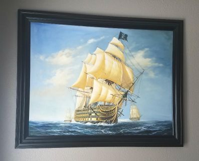 LARGE PIRATE SHIP FRAMED PAINTING