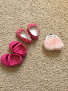 Doll shoes ( not sure if the shiny pair fits American girl) change purse and kids Pom Pom
