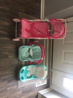 American Girl Doll Bitty Baby stroller, carrier, and bath time.