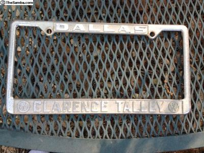 Clarence Talley Tx Vw dealer plate frame #2