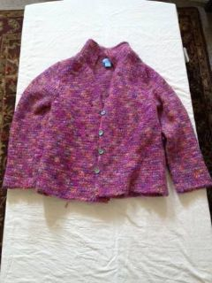 Womens Multi Colored Knit Sweater with Buttons Large
