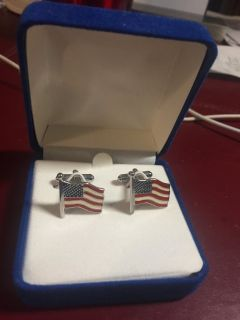 New Patriotic American Flag Cuff Links - New in Box