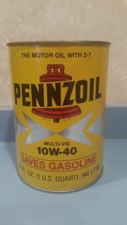 PENNZOIL Oil Quart 10W-40 Motor Oil Paper Can Stock No 3651 VINTAGE 1970s UNOPENED