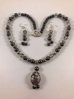 Handmade Black hematite & Silver half plated beaded pendant necklace with earring