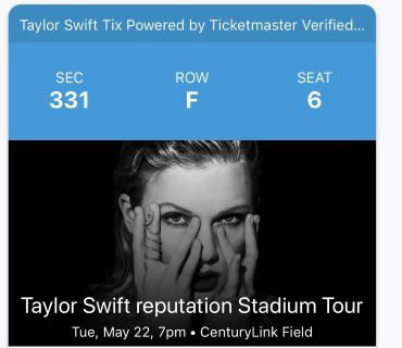Taylor Swift! 2 tickets. $300 for the pair. Cash only. Will transfer as soon as paid