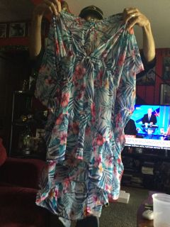 Size 2X 20 to 22 sheer flower shirt and a cover-up for bathing suit new with tags sells for 1699