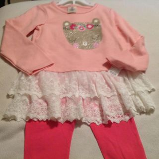 Little Girl NEW! Adorable Cute Kitty Design with Lace outfit! Size 5/5t maybe a small 6