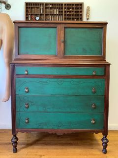 Antique Green 6 Drawer/ Vintage Dresser
