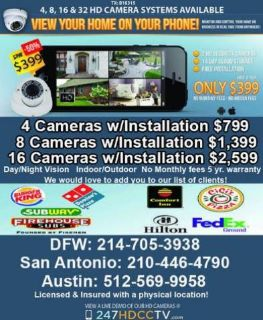 $497, High Definition Surveillance camera system FREE INSTALL