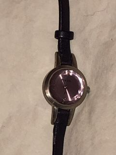 Purple Fossil Watch with Leather Band