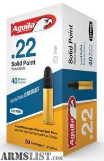 For Sale: Aguila 1B222332 Standard Velocity 22 Long Rifle (LR) 40 GR Solid Point 50 Bx/ 100 Cs-Flat rate shipping $14.95 unlimited boxes