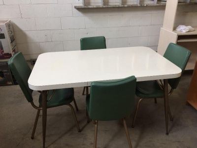 Vintage Formica top table and 4 green vinyl chairs